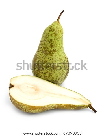 whole and half pear isolated on white
