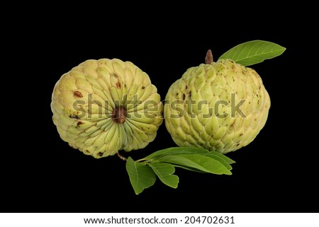 Whole and partial Cherimoya fruit - stock photo