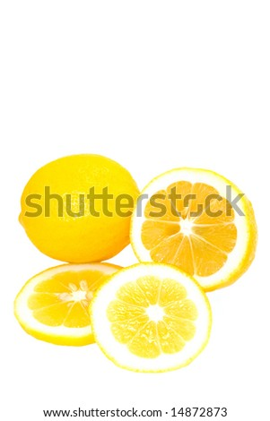 Whole and Sliced  Bright Yellow Meyer Lemons  Isolated on White Background - stock photo