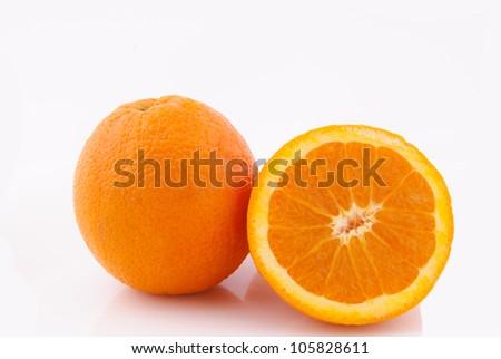 Whole and sliced orange isolated - stock photo