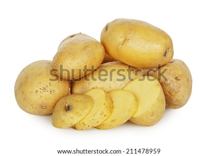 whole and sliced potatoes isolated on white - stock photo