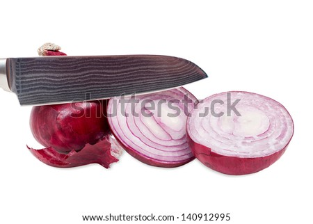 Whole and sliced ??red onions with knife in front of white background