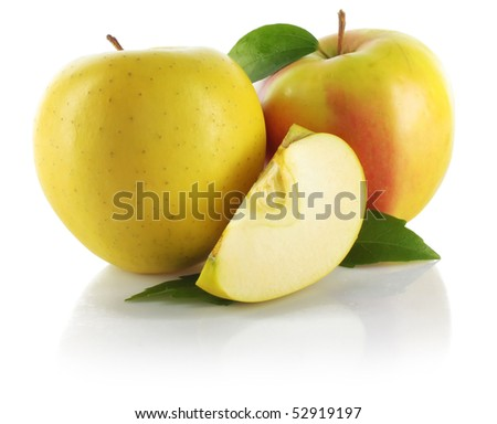 Whole apples and segment with green leaves isolated on white background - stock photo