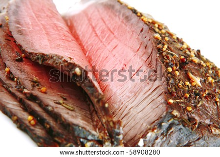 whole beef meat slice on white background - stock photo