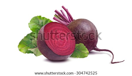 Whole beet root and half isolated on white background as package design element - stock photo