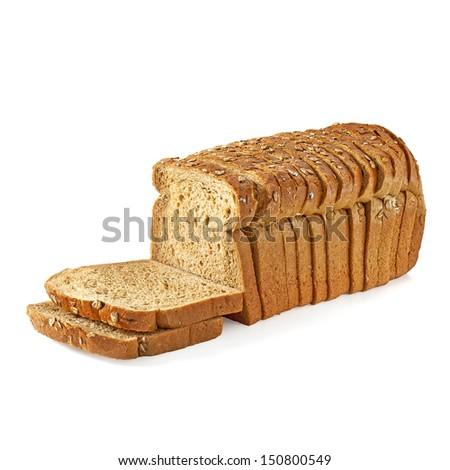 Whole bread slices on white background - stock photo