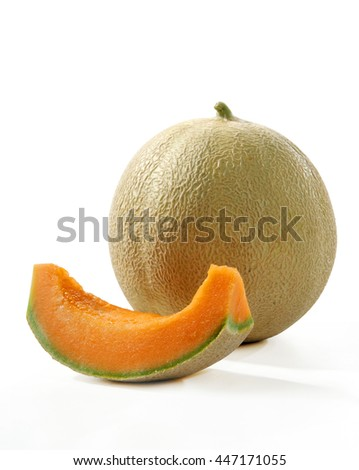 whole cantaloupe and a slice of melon close