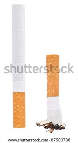 Whole cigarette and goby sigraety isolated on white