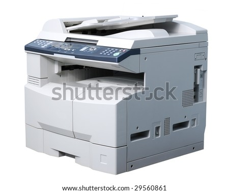 Whole copying machine. Isolated on white. - stock photo