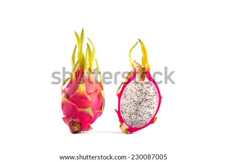 Whole dragon fruit and a half part, isolated on white background    - stock photo