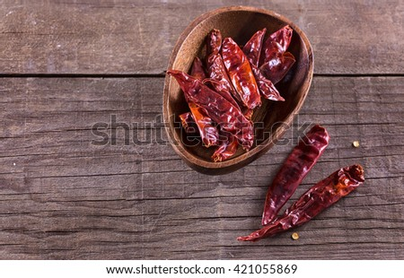 Whole dried chillies in a wooden bowl over rustic background with copyspace