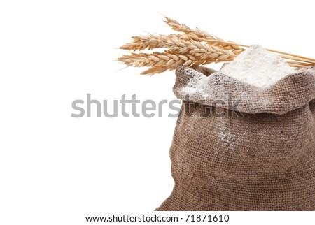 Whole flour with wheat ears - stock photo
