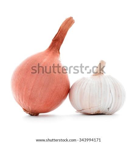 Whole fresh gold onion, ripe garlic bulb, isolated on white - stock photo