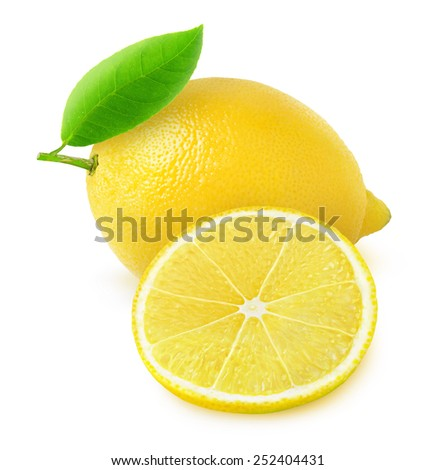 Whole fresh lemon and a slice over white background, with clipping path - stock photo