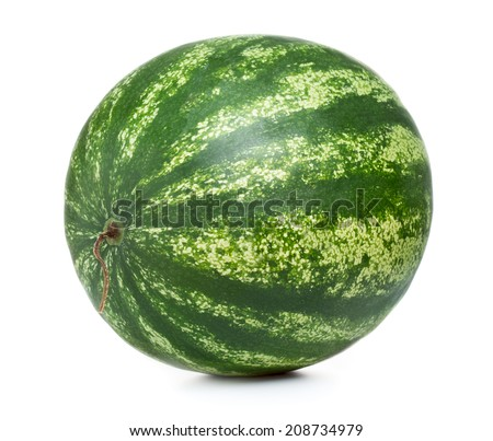 Whole fresh ripe watermelon isolated on white background - stock photo
