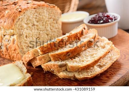 Whole grain bread close - stock photo