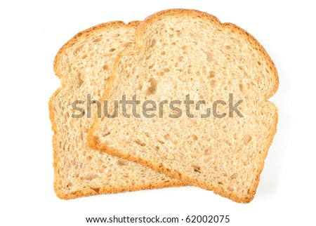 Whole grain bread isolated on white. - stock photo