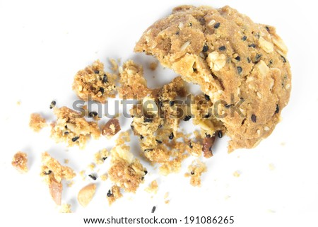 whole grain cookies isolated on white background. - stock photo