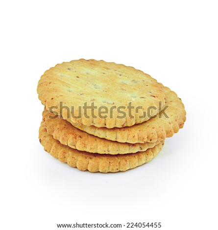 whole grain crackers isolated on white