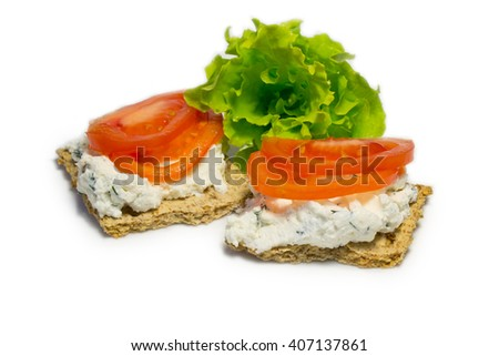 whole grain sandwiches with cheese and tomatoes - stock photo