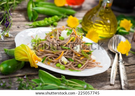 Whole Grain Spaghetti with Vegetable   - stock photo
