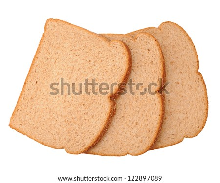 whole grain wheat bread isolated on white background