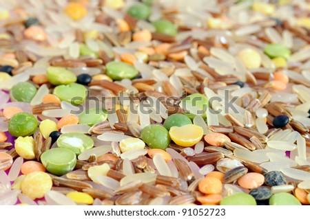 Whole Grains & Beans Mix (Rice, Split Peas and Lentils) Close-Up - stock photo