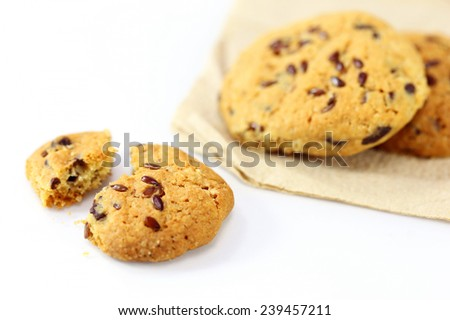 whole grains cookies on white background