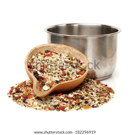 whole grains on white background