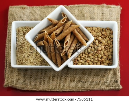 Whole grains, rice and beans for healthy cooking - stock photo