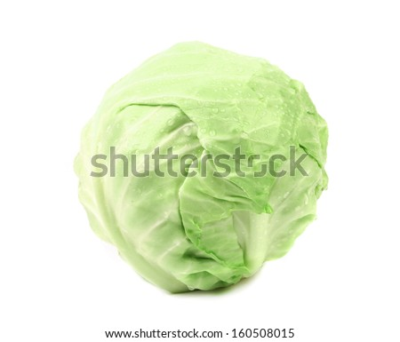 Whole green cabbage. Isolated on a white background.