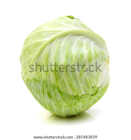 whole green cabbage isolated on white - stock photo