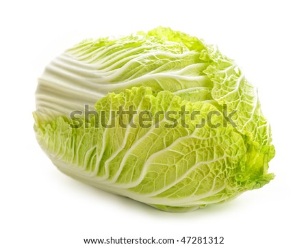 Whole green Chinese cabbage head isolated on white - stock photo