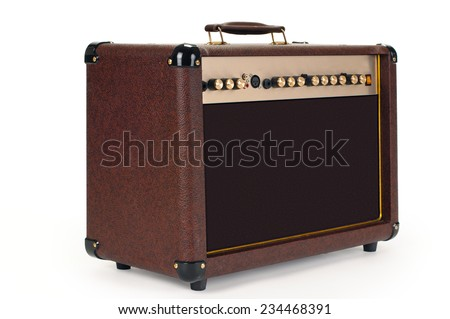 whole guitar amplifier on white background isolated - stock photo
