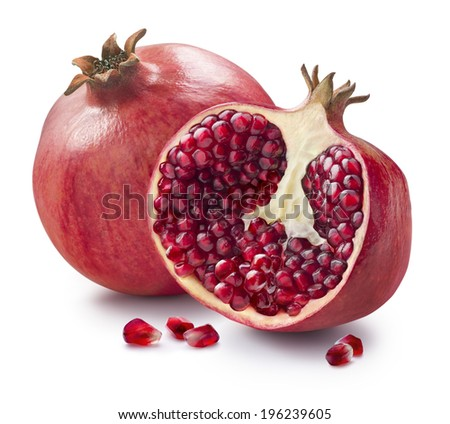 Whole, half and seeds of pomegranate isolated on white background for package design - stock photo