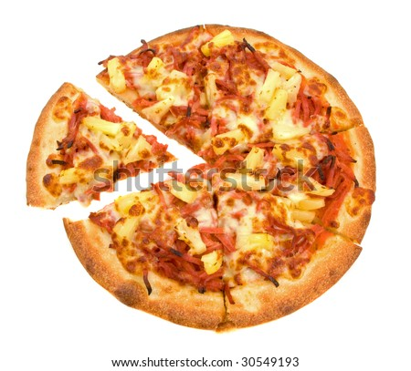 Whole Ham and Pineapple Pizza over white background - stock photo