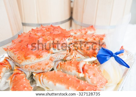 Whole Hot Steamed king Crab - stock photo