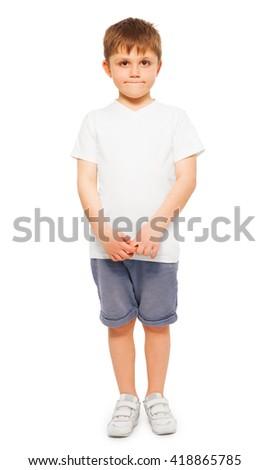 Whole-length portrait of little boy - stock photo