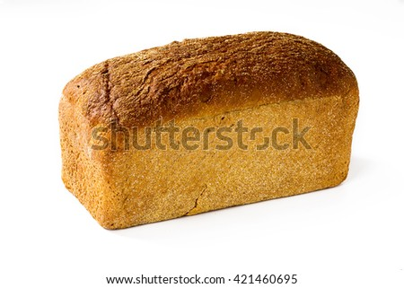 Whole loaf of bread isolated on white background, closeup. - stock photo