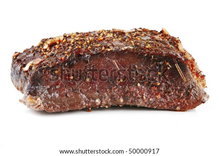 whole meat chunk over white background - stock photo