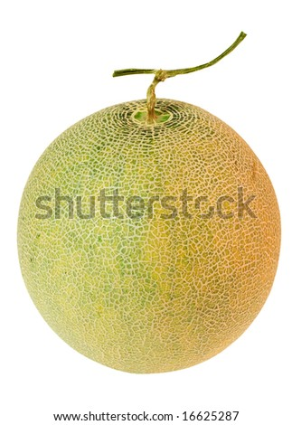 Whole musk melon isolated on white background