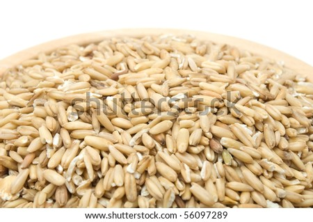 Whole Oats in Bowl - stock photo