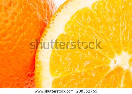 Whole orange fruit and his segments isolated on white background