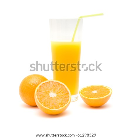 whole orange, orange cut in half and  a glass of orange juice with a straw, isolated on white