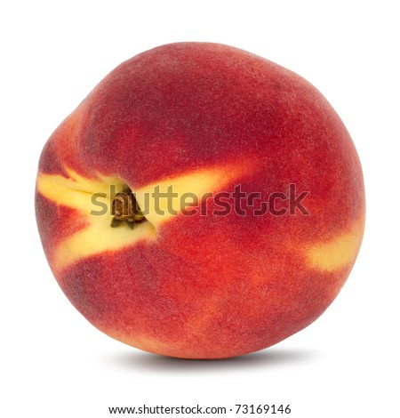 whole peach on white background with drop shadow - stock photo