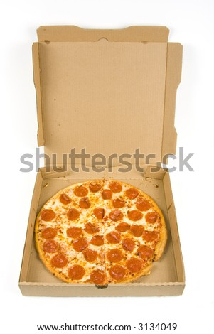 whole pepperoni pizza in a box isolated on a white background - stock photo