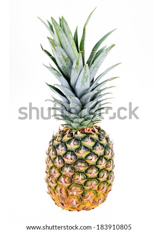 Whole Pineapple isolated on a white background.