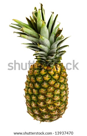 Whole pineapple on white background.