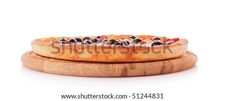 Whole pizza plate isolated on white. Side view - stock photo