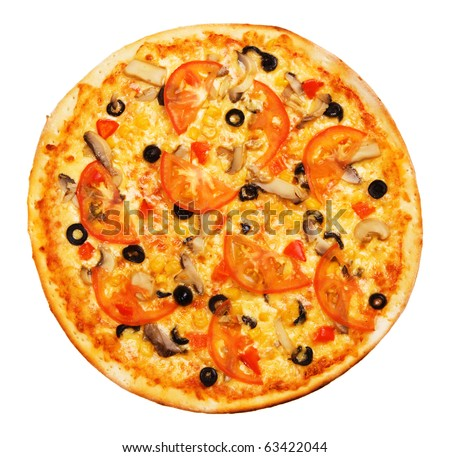Whole pizza with tomatoes isolated on white